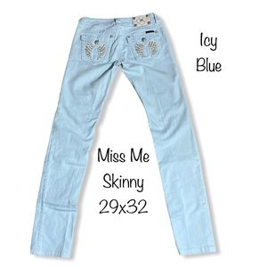 MISS ME Angel Wing Skinny Jeans Icy Blue 29